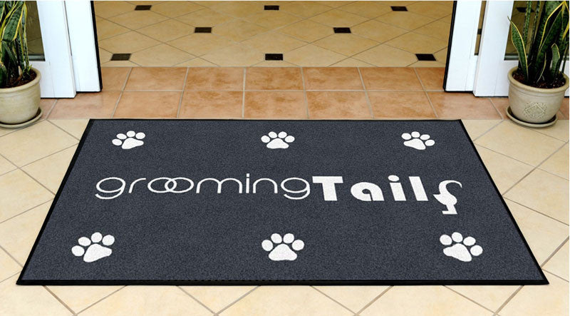 Grooming Tails 3 X 5 Rubber Backed Carpeted HD - The Personalized Doormats Company