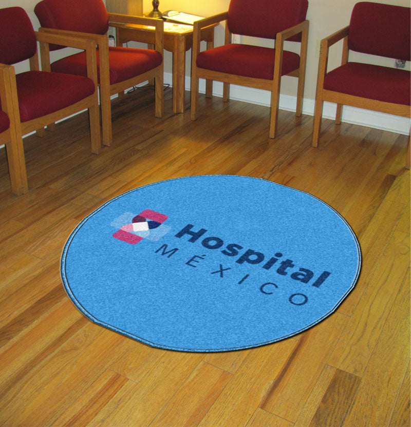 HOSPITAL MEXICO 3 X 3 Rubber Backed Carpeted HD Round - The Personalized Doormats Company