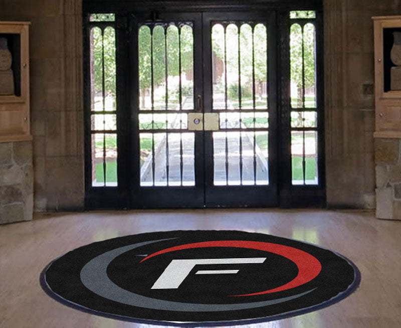 Fuse TG 5 X 5 Rubber Backed Carpeted HD Round - The Personalized Doormats Company