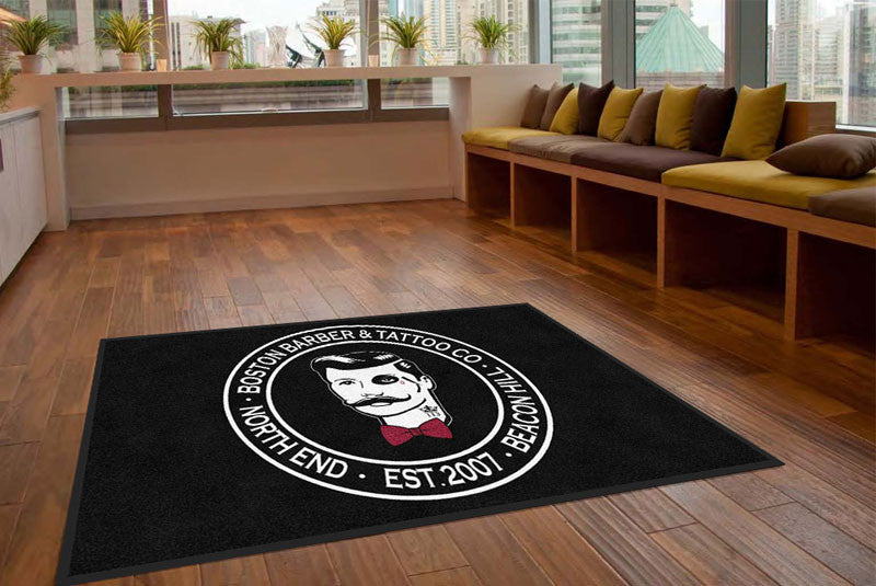 boston barber & tattoo co. 5 X 8 Rubber Backed Carpeted HD - The Personalized Doormats Company