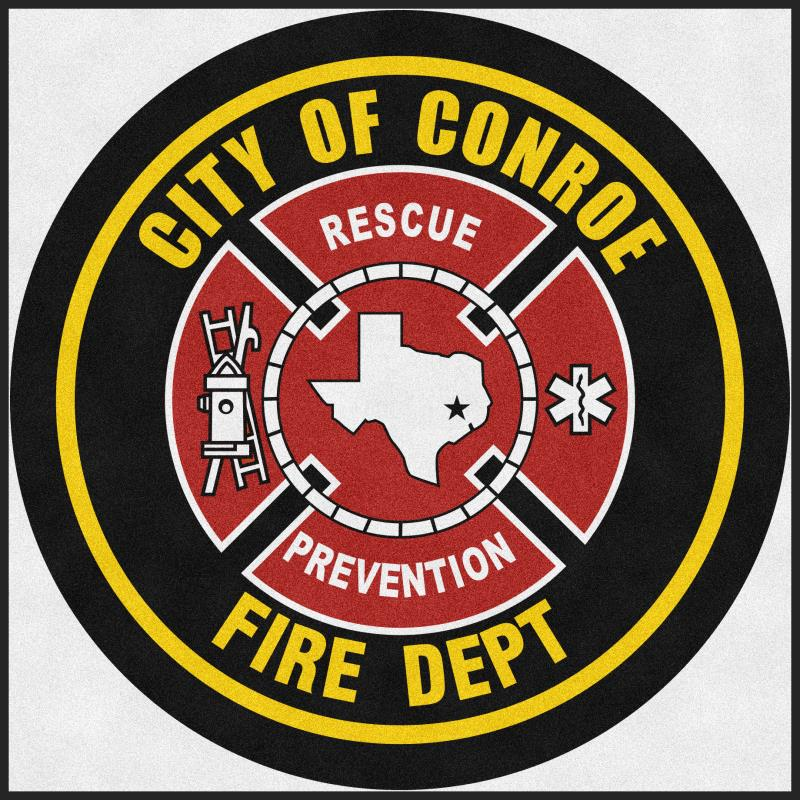 Conroe Fire Department 6 X 6 Rubber Backed Carpeted HD Round - The Personalized Doormats Company