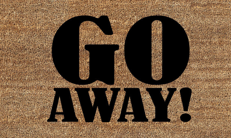 GO AWAY !! 18 X 30 Flocked Classic Coir (PDC) - The Personalized Doormats Company