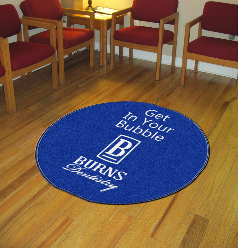 Burns Dentistry 3 X 3 Rubber Backed Carpeted HD Round - The Personalized Doormats Company