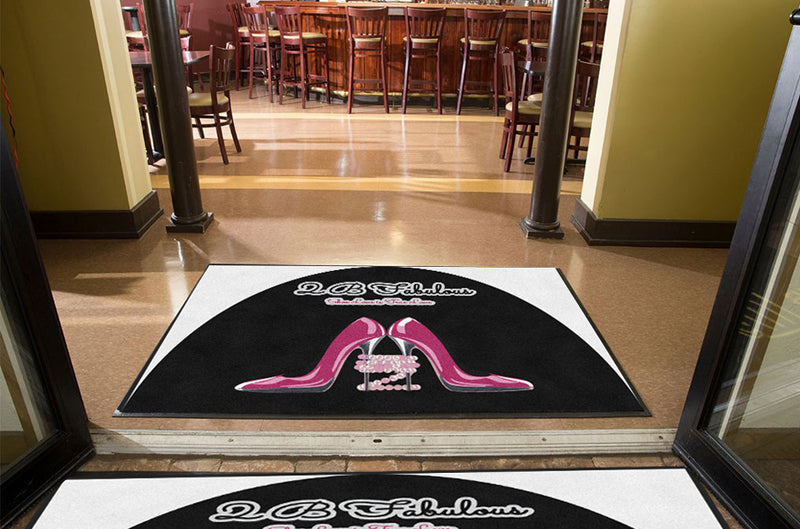 2B Fabulous 4 X 6 Rubber Backed Carpeted HD Half Round - The Personalized Doormats Company
