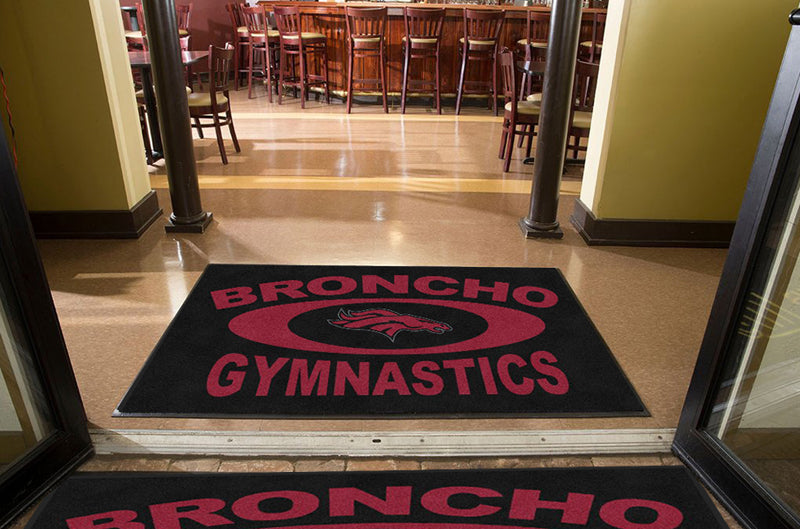 Broncho Gymnastics 4 X 6 Rubber Backed Carpeted HD - The Personalized Doormats Company