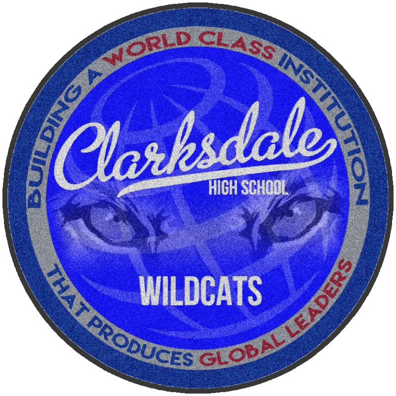 Clarksdale High School 6 X 6 Rubber Backed Carpeted HD Custom Shape - The Personalized Doormats Company