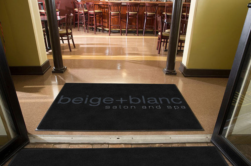 beige+blanc 4 X 6 Rubber Backed Carpeted HD - The Personalized Doormats Company