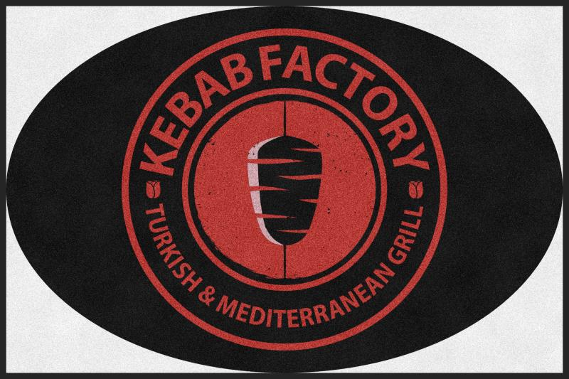 Kebab Factory 4 X 6 Rubber Backed Carpeted HD Round - The Personalized Doormats Company