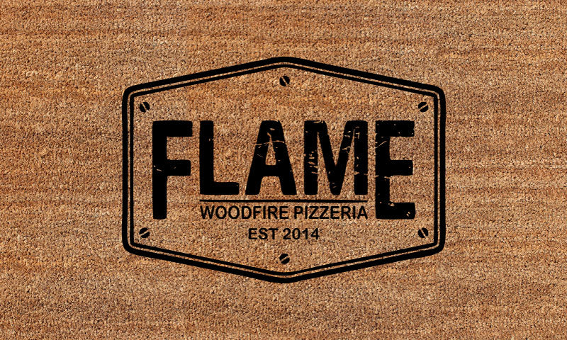 Flame woodfire pizzeria 18 X 30 Flocked Classic Coir (PDC) - The Personalized Doormats Company