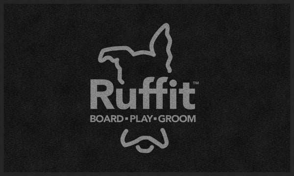 CityVet (gray logo) Ruffit Logo 3 X 5 Rubber Backed Carpeted - The Personalized Doormats Company