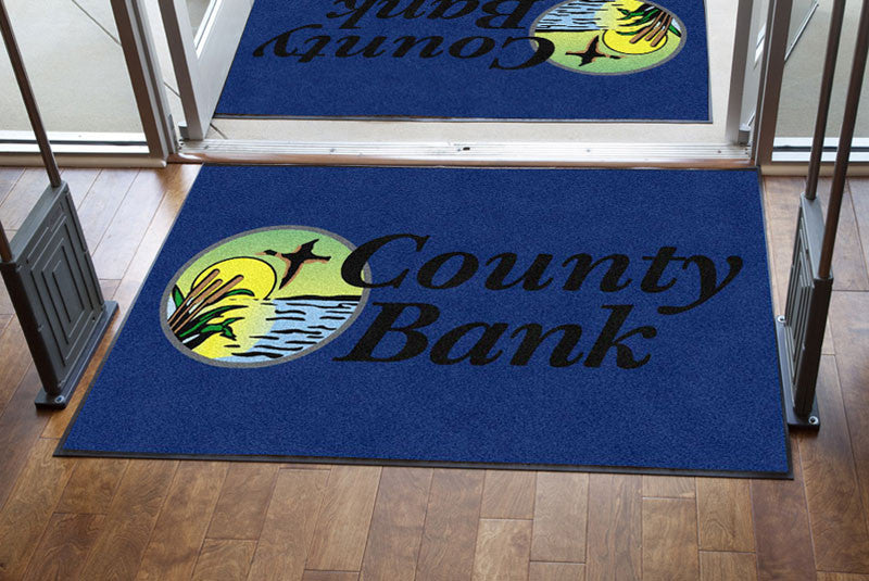 County Bank 4 X 6 Rubber Backed Carpeted HD - The Personalized Doormats Company