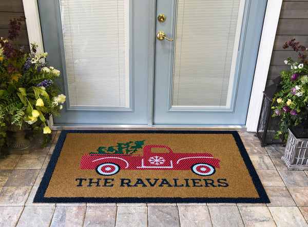 Christmas Truck and Tree Personalize DuraColor Doormat