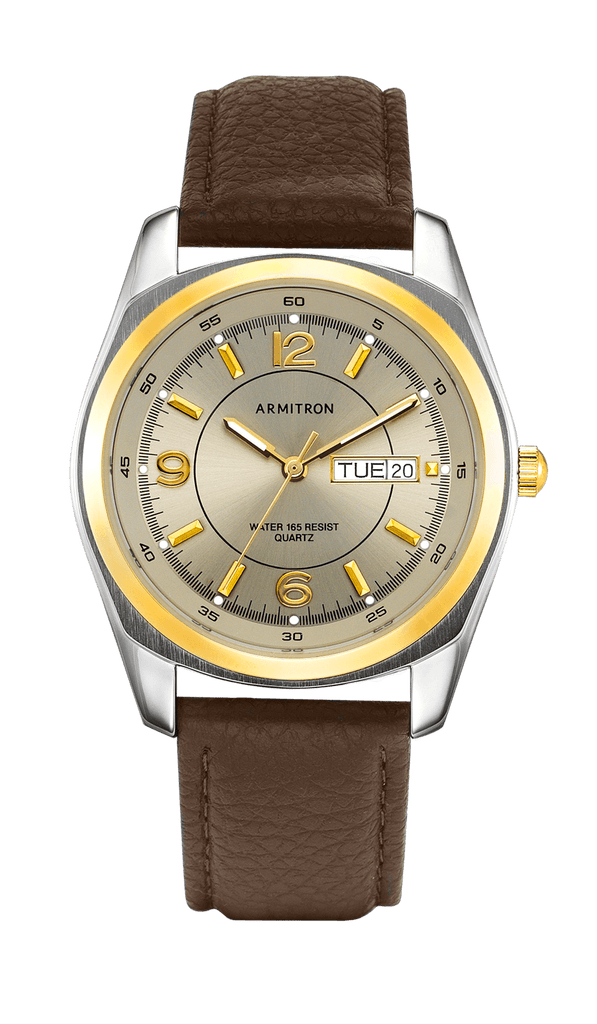 Brown Leather Strap with Two-Tone Accents- 38MM