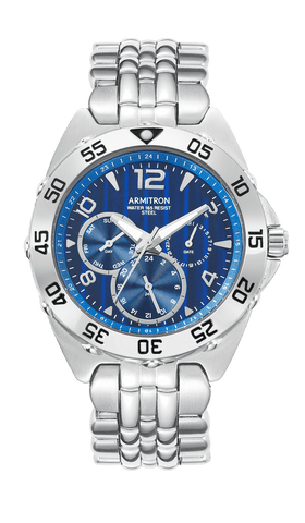 Silver-Tone Stainless Steel Multi-Function Blue Dial Bracelet Watch- 20/4664BLSV / Silver / 43.5mm