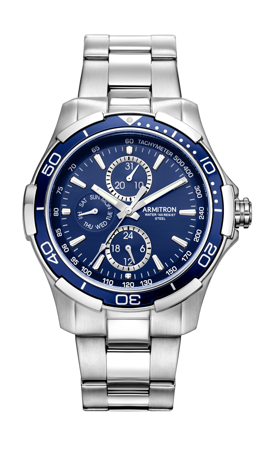 9b5695810a49 Stainless Steel Multi-Function Blue Dial Watch- 42.5MM – Armitron