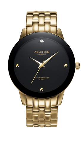 Stainless Steel Analog Watch with Diamond Accent and Black Dial- 42MM / Gold Tone / 42mm