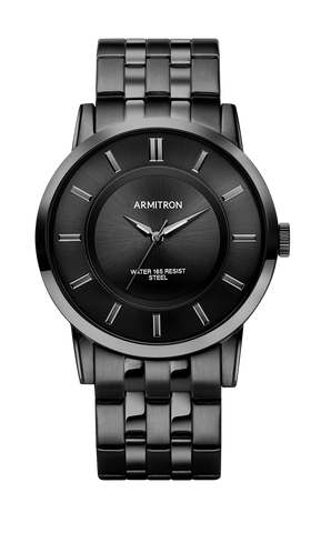 Black IP Stainless Steel Analog Watch- 42MM / Black / 42mm