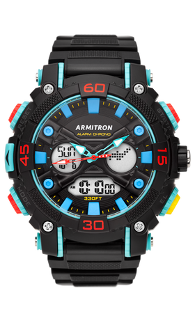 Black Analog-Digital Watch with Red, Yellow and Blue Accents- 50MM / Blue / 50mm
