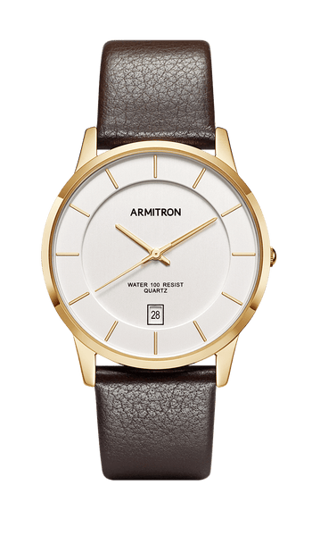f9d8b2d17cc Men s Gold Tone Analog Watch with Brown Genuine Leather Strap -  20 5190SVGPBN – Armitron