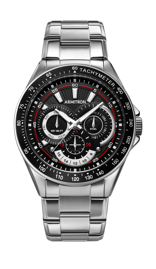 Stainless Steel Watch with Tachymeter Features- 47.5MM
