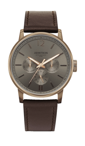 Dark Brown Leather Strap with Three Subdials- 42MM / Brown / 42mm