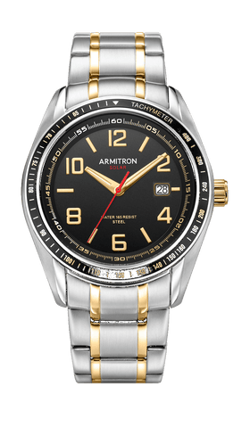 Solar Two-Tone Stainless Steel Watch with Adjustable Link Bracelet and Black Dial- 41MM / Gold Silver Two-Tone / 41mm
