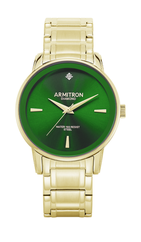 Gold-Tone Stainless Steel Bracelet Watch with Green Dial and Diamond Accent- 41MM / Gold / 41mm
