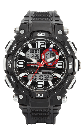 Black Analog-Digital Watch with Red and White Accents- 53MM / Black / 53mm
