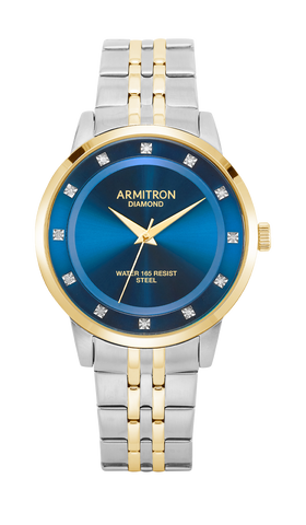 Two-Tone Stainless Steel Bracelet Watch with Blue Dial and Diamond Markers- 40MM / Two Tone / 40mm