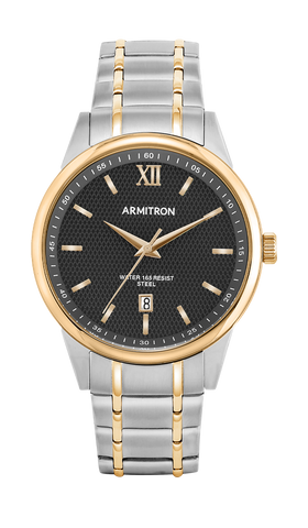 Two-Tone Stainless Steel Bracelet Watch with Calendar Window at 6H and Black Dial- 40MM / Two Tone / 40mm