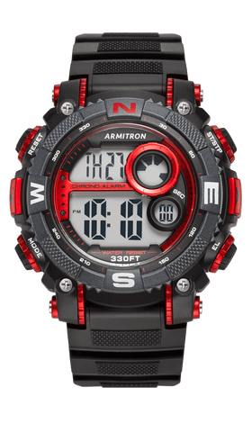 Men's Sport Large Metallic Red Accented Black Resin Strap Chronograph Digital Watch- 40/8284RED / Black / 53.5mm