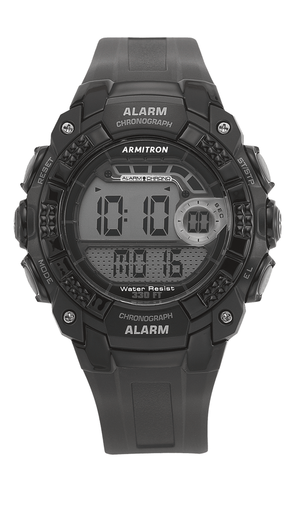 Black Digital Chronograph Resin Strap- 49MM