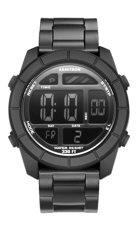 Black Digital Chronograph Resin Strap with Gunmetal Accents- 50MM