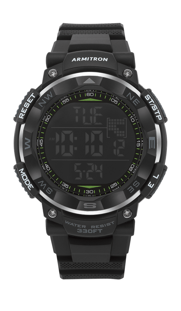 Black Digital Chronograph Resin Strap- 53.5MM