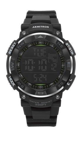 Digital Chronograph Watch with Black Resin Strap- 53MM / Black / 53mm