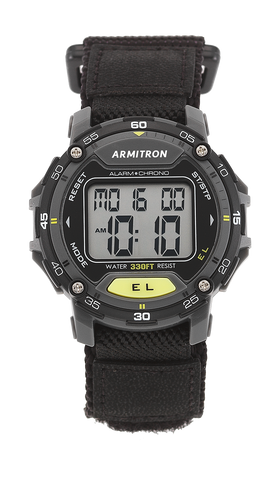 Digital Watch with Black Nylon Adjustable Strap and Yellow Accents- 42MM / Black / 42mm