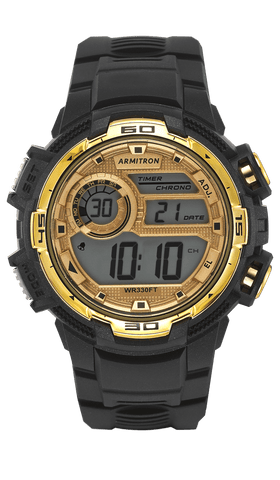 Digital Chronograph Watch with Black Resin Strap and Gold Accents- 48MM / Black / 48mm