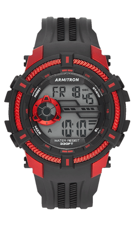 Black Digital Sport Watch with Red Accents- 50MM / Black / 50mm