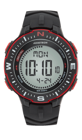Digital Chronograph Watch with Black Resin Strap and Red Accents- 50MM / Black / 50mm