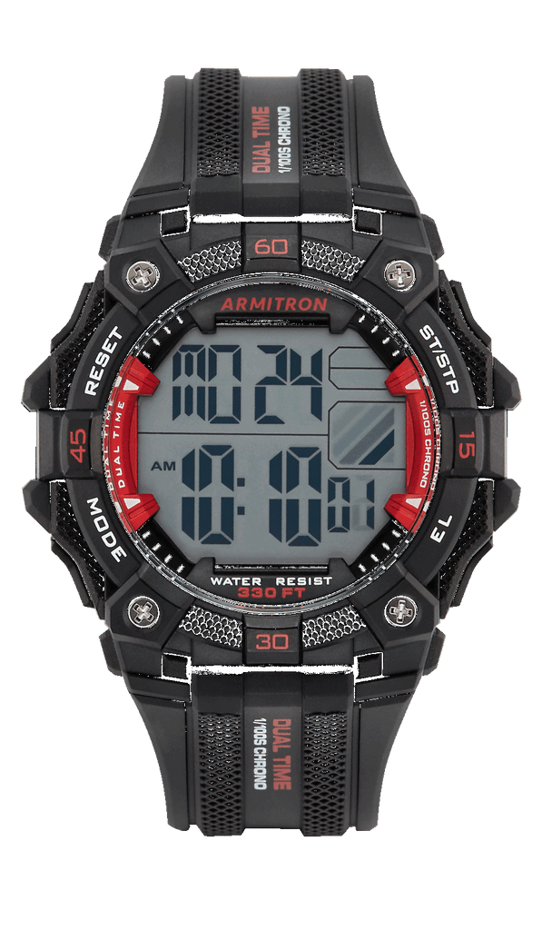 Black Digital Chronograph Resin Strap with Red Accents- 46MM