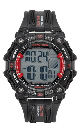 Digital Chronograph Watch with Black Resin Strap and Red Accents- 46MM / Red / 46mm