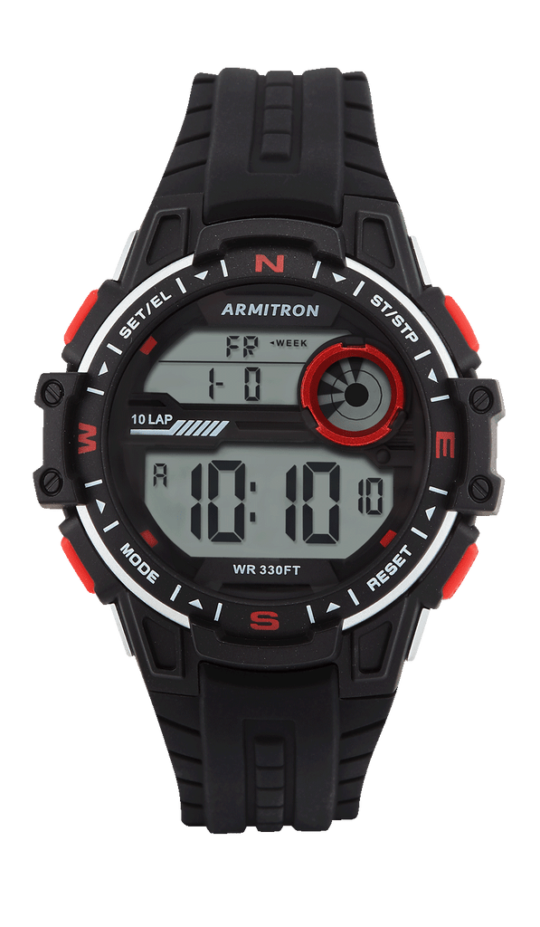 Black Digital Silicon Strap with Red Accents- 48MM