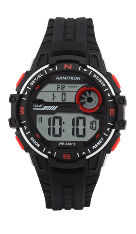 Digital Watch with Black Silicone Strap and Red Accents- 48MM / Black / 48mm