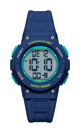 Teal Digital Chronograph Watch with Navy Resin Strap and Push Buttons- 37.5MM / Blue / 37.5MM
