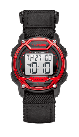 Digital Chronograph Watch with Black Nylon Adjustable Strap and Red Accents- 40MM / Red / 40mm
