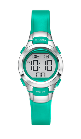 Digital Watch with Teal Resin Strap / Teal / 27mm