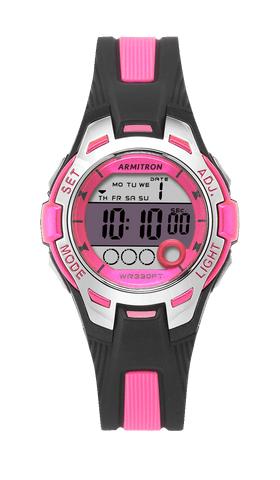 Digital Chronograph Watch with Black Resin Strap and Pink Accents- 35MM / Pink / 35mm