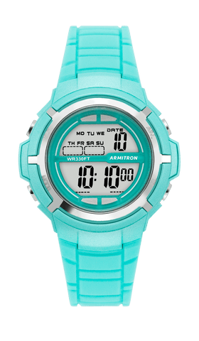 Teal Resin Chronograph Digital Sport Watch with Silver Accents- 38MM / Teal / 38mm