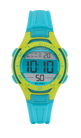 Light Blue Resin Chronograph Digital Sport Watch with Green Accents- 33MM / Blue / 33mm