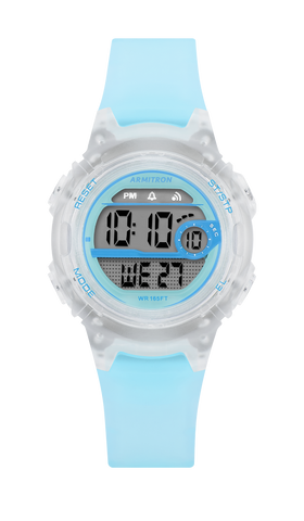 Translucent Light Blue Digital Chronograph Sport Watch with Translucent Case- 33.5MM / Blue / 33.5mm